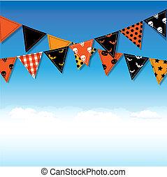 bunting, dia das bruxas, bandeiras, céu