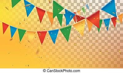 Bunting flags and tinsel particles - Hanging garlands and...