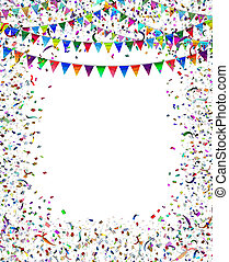 Bunting Flags Confetti Frame - Bunting flags confetti frame...