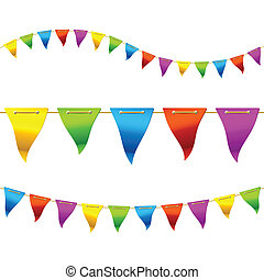 Bunting flags - Vector illustration of multicolored bunting ...