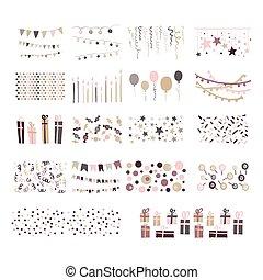 bunting, jogo, doodle, patterns., mão, vetorial, partido, desenhado