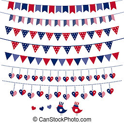 bunting, jogo, guirlanda, themed, bandeira americana, vetorial