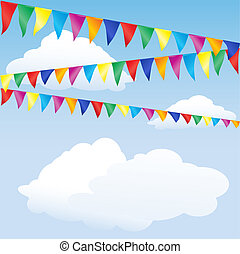 Strings of bunting against sky. Space for your text. EPS10 vector format