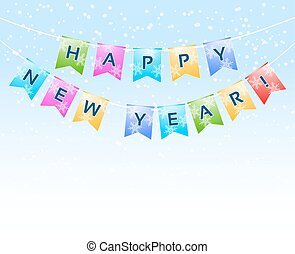 bunting with Happy New Year words and snowflakes on white. vector