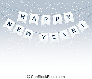bunting with Happy New Year words and snowflakes. vector