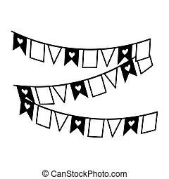 bunting with hearts decoration isolated icon white background line style