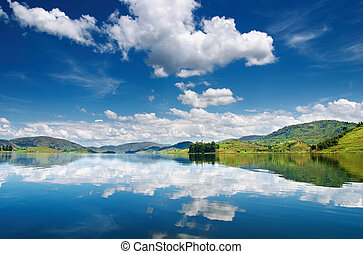 Bunyonyi Lake in Uganda - Beautiful mountain lake Bunyonyi...
