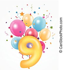 buon compleanno, balloon, con, numero