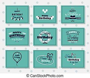 buon compleanno, cartoline, set