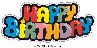 buon compleanno, cartone animato, segno