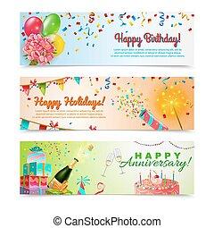 buon compleanno, celebrazione anniversario, bandiere, set