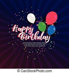 buon compleanno, celebrazione, bandiera, con, coriandoli, e, palloni