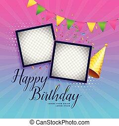 buon compleanno, celebrazione, fondo, con, cornice foto