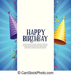 buon compleanno, celebrazione, fondo, con, festa, cappucci, e, coriandoli