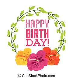 buon compleanno, celebrazione, manifesto, floreale