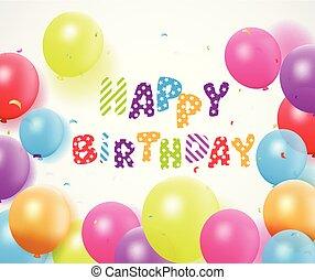 buon compleanno, con, balloon, e, coriandoli