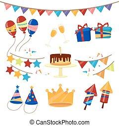 buon compleanno, festa, celebrazione, elementi, set