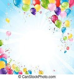 buon compleanno, fondo, con, palloni