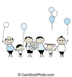 buon compleanno, grande, famiglia, con, bambini, bambino neonato