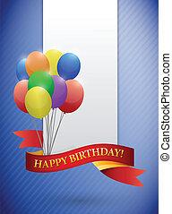 buon compleanno, nastro, scheda, illustrazione, disegno