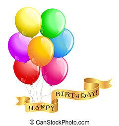 buon compleanno, palloni, con, nastro