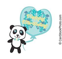 buon compleanno, scheda, -, carino, panda, con, balloon