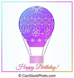 buon compleanno, scheda, con, aria, balloon, pendenza