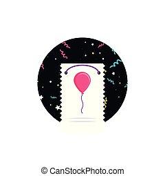 buon compleanno, scheda, con, balloon, elio