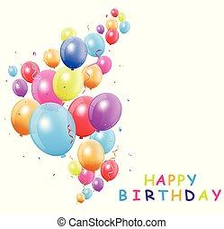 buon compleanno, scheda, con, colorito, balloon