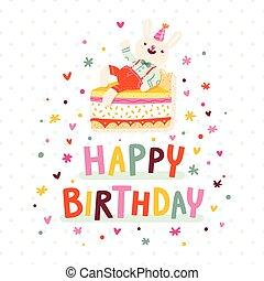 buon compleanno, scheda, con, coniglietto, e, torta
