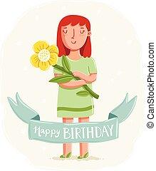 buon compleanno, scheda, con, uno, ragazza, presa a terra, uno, fiore