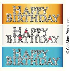 buon compleanno, set, di, parole