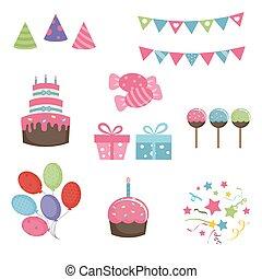 buon compleanno, set, icone