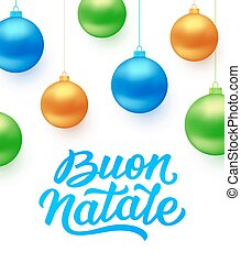 Buon Natale background with blue Christmas balls