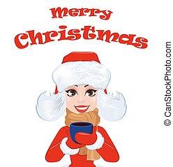 buon natale, cartolina auguri, con, bella donna, in, vestiti inverno, presa a terra, uno, tazza, di, bevanda calda