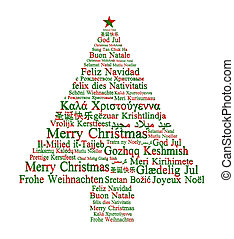 buon natale, in, differente, lingue, formare, uno, albero...