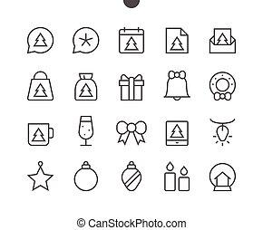 buon natale, ui, pixel, perfetto, well-crafted, vettore, linea sottile, icone, 48x48, pronto, per, 24x24, griglia, per, web, grafica, e, apps, con, editable, stroke., semplice, minimo, pictogram