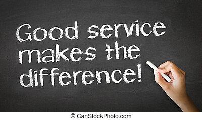 buon servizio, illustrazione, gesso, differenza, marche