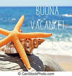 buona, vacance, texto, férias, italiano, feliz