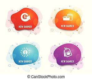 buoni, vettore, segno., dollaro, informazioni, tags., icons., refund., informazioni, regali, scambio, scatole, shopping, soldi, compleanno
