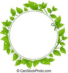 buono, annuncio, foglie, verde