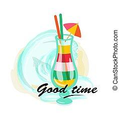 buono, cocktail, manifesto, vacanza, vetro, tempo, servito