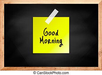 buono, colorare, lavagna, mattina, legno, nero