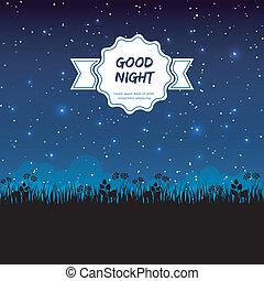 buono, disegno, notte