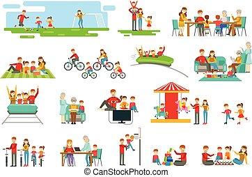 buono, famiglia, insieme, set, tempo, illustrazioni, ...