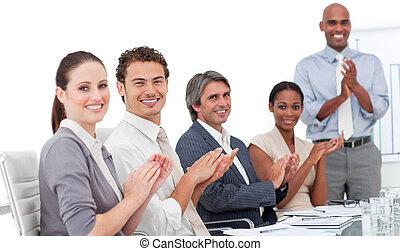 buono, gruppo, affari, positivo, battimano, presentazione