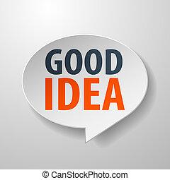 buono, idea, discorso, fondo, bianco, bolla, 3d