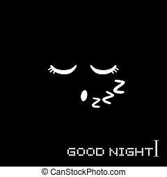 buono, illustrazione, notte