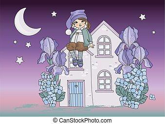 buono, magia, nano, illustrazione, luna, vettore, notte, set, cartone animato