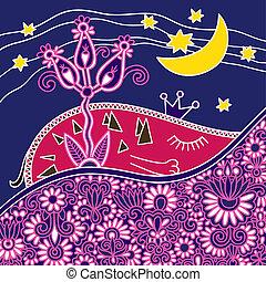 buono, notte, astratto, composizione